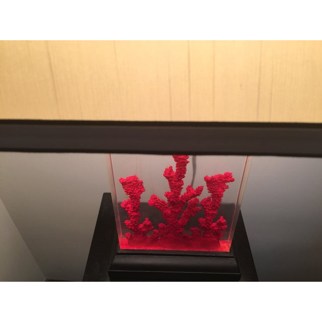 Lucite Red Coral Lamp - Image 6 of 9