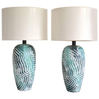Pair of Graphic Postmodern Ceramic Jar Form Table Lamps For Sale