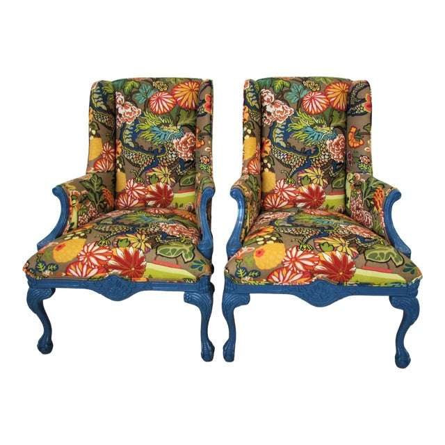 Pair of English Lacquered Georgian Style Gainsborough Armchairs For Sale