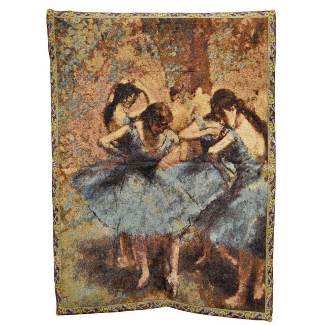 "35""x 25"" French Wall Hanging Tapestry Jacquard Ballet Dancers in Blue Edgar Degas For Sale In Philadelphia - Image 6 of 6"