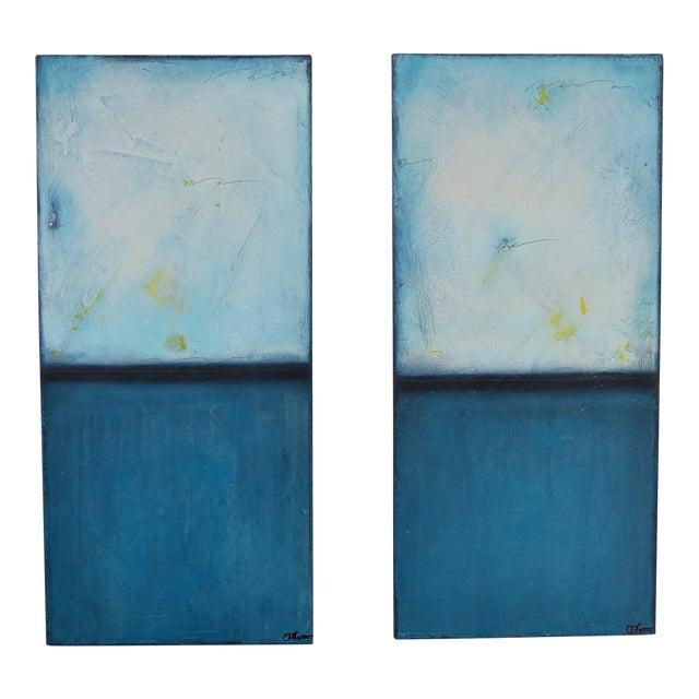 Blue Velvet Sunrise, I & II. Mixed Media Oil on Panel - Pair - Image 1 of 11