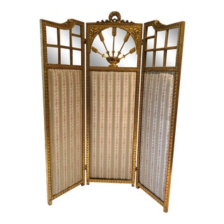French Neoclassical Revival Giltwood Mirror and Upholstered 3-Panel Screen For Sale