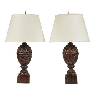 Early 20th C. Carved Oak Table Lamps - a Pair For Sale