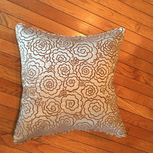 Just beautiful pillows!! Blue silk with flower designs. Well made with self welt and zipper. Hyper allergenic insert...