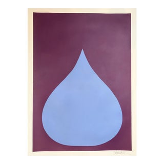 Original Fat Drop of Frost Blue on Deep Violet Painting