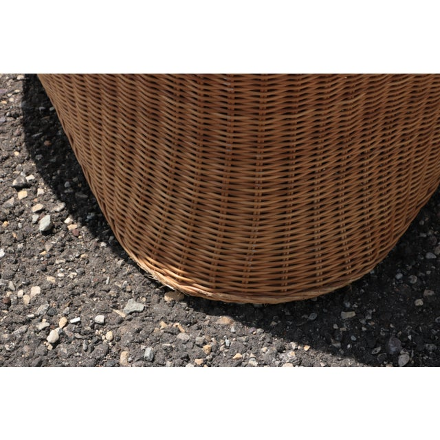 Wicker Low Lounge Chairs - a Pair For Sale - Image 11 of 13