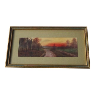 "Antique Moody Landscape ""At Sundown"" Print"