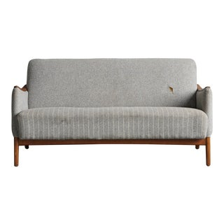 Grey Pinstriped Danish Loveseat For Sale