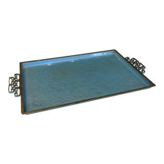 Moire Glaze Kyes Decorative Enameled Tray For Sale
