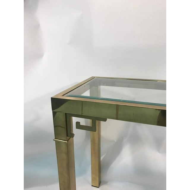 ELEGANT ITALIAN SOLID BRASS CONSOLE TABLE WITH GREEK KEY DESIGN For Sale - Image 9 of 10