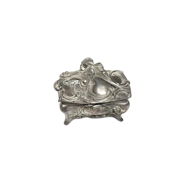 1900 - 1909 1990s Art Nouveau Cast Metal Footed Jewelry Casket Box For Sale - Image 5 of 5
