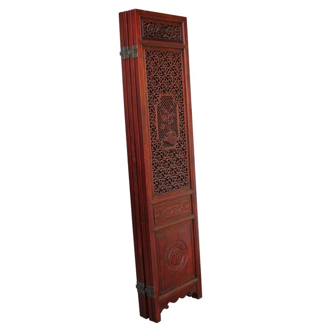 This is a set of four door panels floor screen room divider with precise season flower carving motif as the central theme....