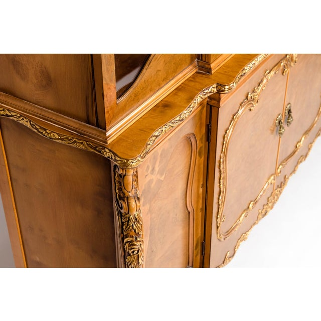 20th Century Two Parts Burlwood Hutch or China Cabinet For Sale - Image 9 of 13