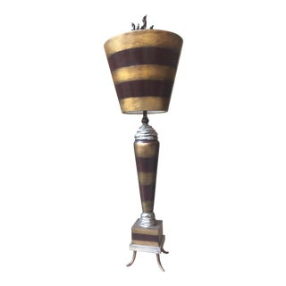 Flambeau Gold Leaf & Black Stripe Table Lamp For Sale