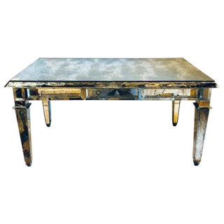 Fine Antiqued Mirror Glass Coffee Table in Hollywood Regency Style For Sale