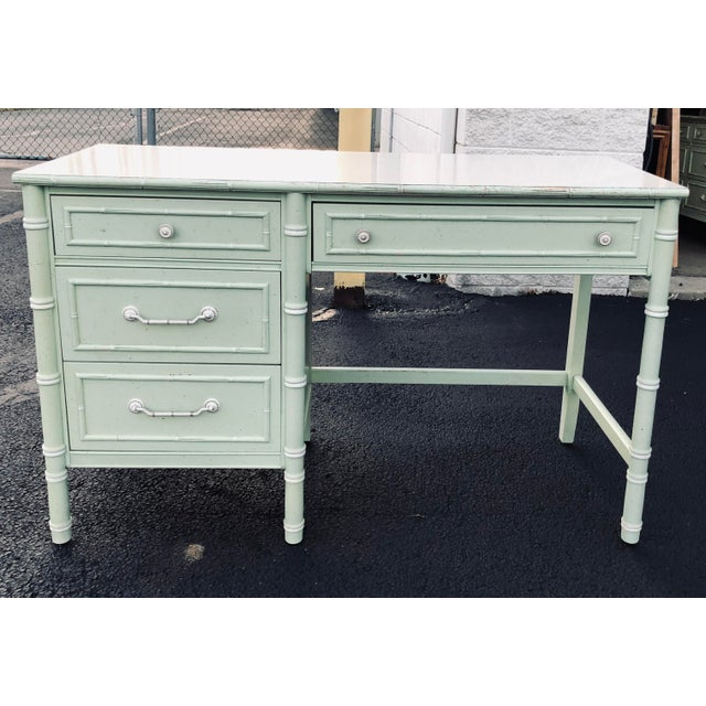 Coastal Thomasville Faux Bamboo Writing Desk For Sale - Image 3 of 9