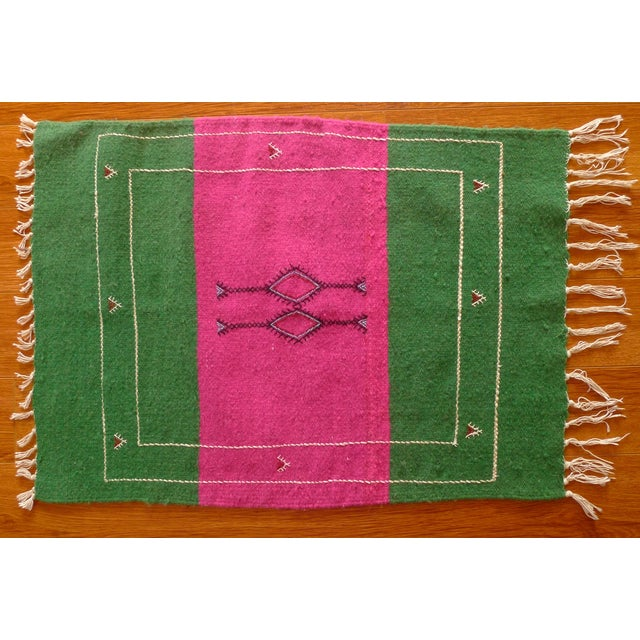 Moroccan Green & Pink Small Wool Rug - 1′9″ × 2′6″ - Image 2 of 6