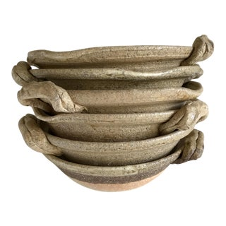Boho Rustic Earthy Pottery Bowls - Set of 6 For Sale