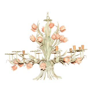 Charming Wrought Iron Hand-Painted Tulip Chandelier
