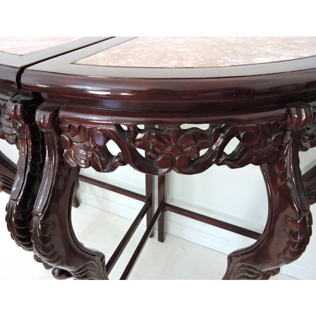 Mid 20th Century Pair of Italian Style Marble Top Corner Hallway Tables, Pedestals or Demi-Lune For Sale - Image 5 of 7