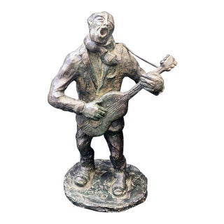 Gino Renata Faita [1901-1990] Italian Sculptor : Guitar Man, Ca.1940s. For Sale