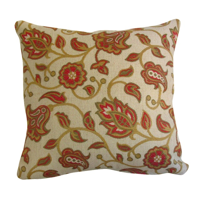 Red & Tan Paisley Vine Pillow - Image 1 of 5