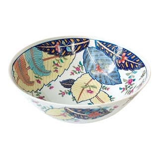 Vintage Tobacco Leaf Fine China Large Salads Serving Bowl For Sale