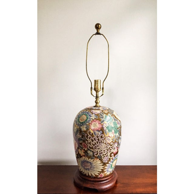 Blue Vintage Chinoiserie Gold Enameled Ginger Jar Table Lamp For Sale - Image 8 of 8