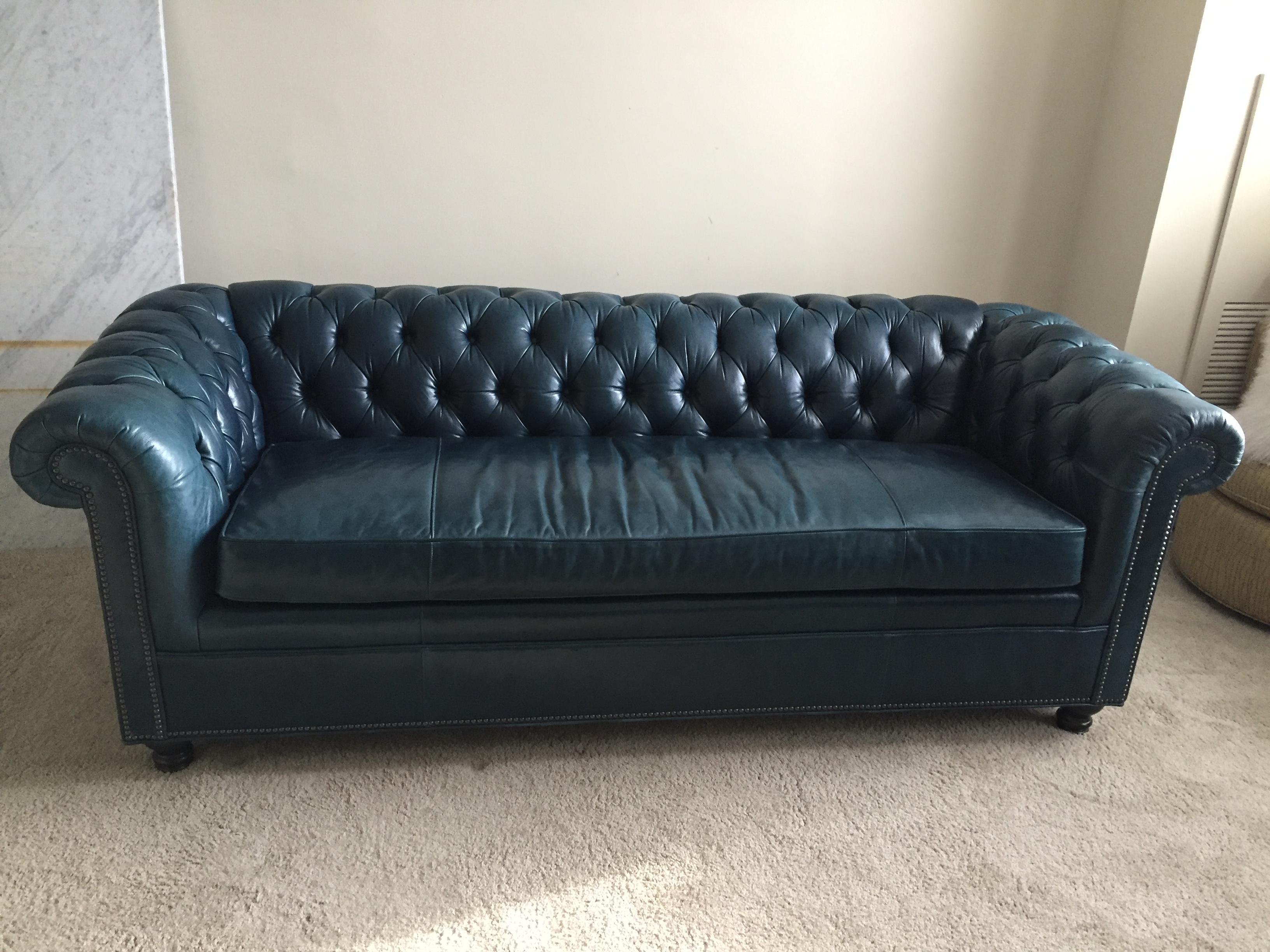 Arhaus Berwick Leather Tufted Sofa   Image 2 Of 9