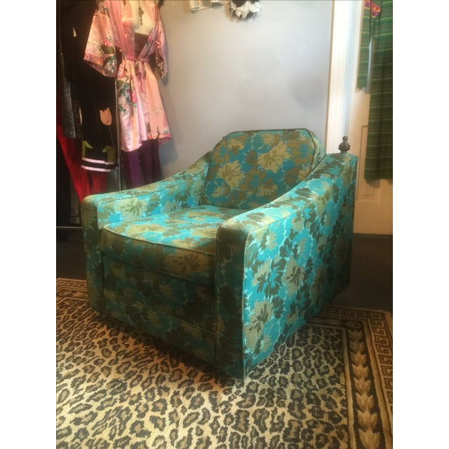 Mid-Century Green Floral Lounge Chair - Image 2 of 7