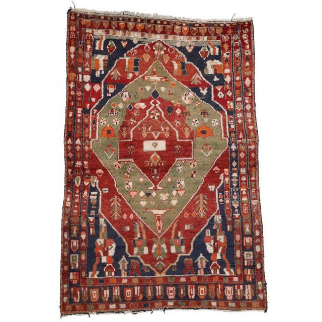 Blue Vintage Persian Bakhtiari Rug with Modern Tribal Style For Sale - Image 8 of 8