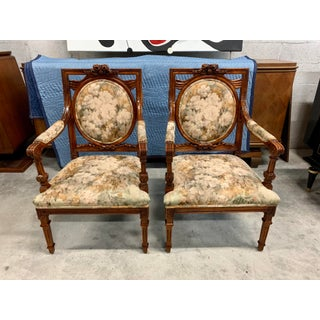 1920s Vintage French Louis XVI Solid Mahogany Accent Chairs or Bergère Chairs - a Pair Preview