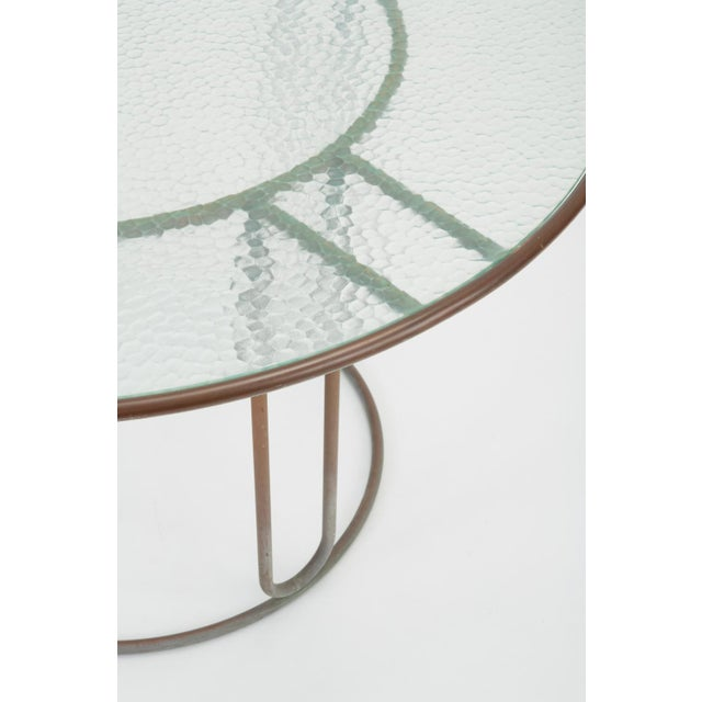 Metal Round Patio Table With Oxidized Bronze Frame by Walter Lamb for Brown Jordan For Sale - Image 7 of 13
