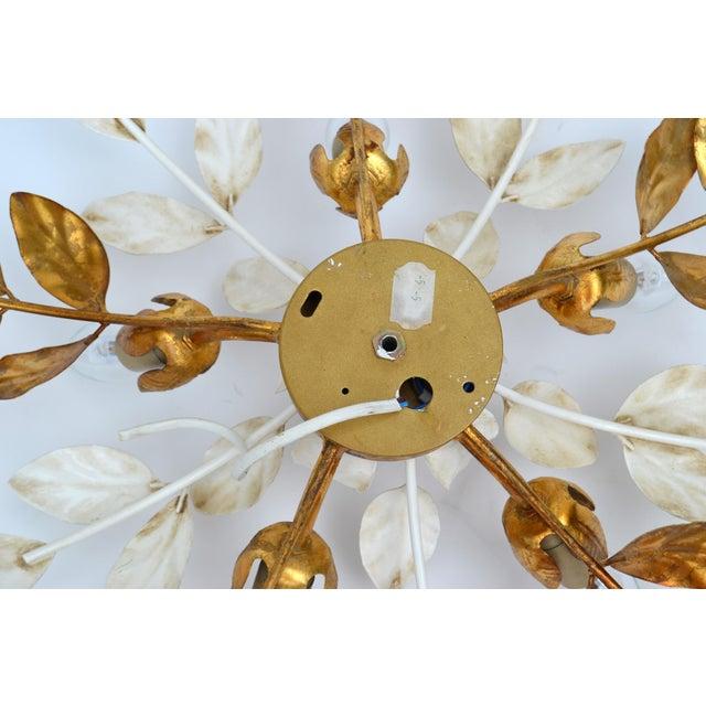 Brass Willy Daro Style Belgium Brass & Enamel Flower Flush Mount in Gold White Finish For Sale - Image 8 of 10