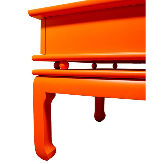 Mid 20th Century Vintage Mid-Century James Mont Style Orange Solid Wood & Brass Chinoiserie End Tables - a Pair For Sale - Image 5 of 6