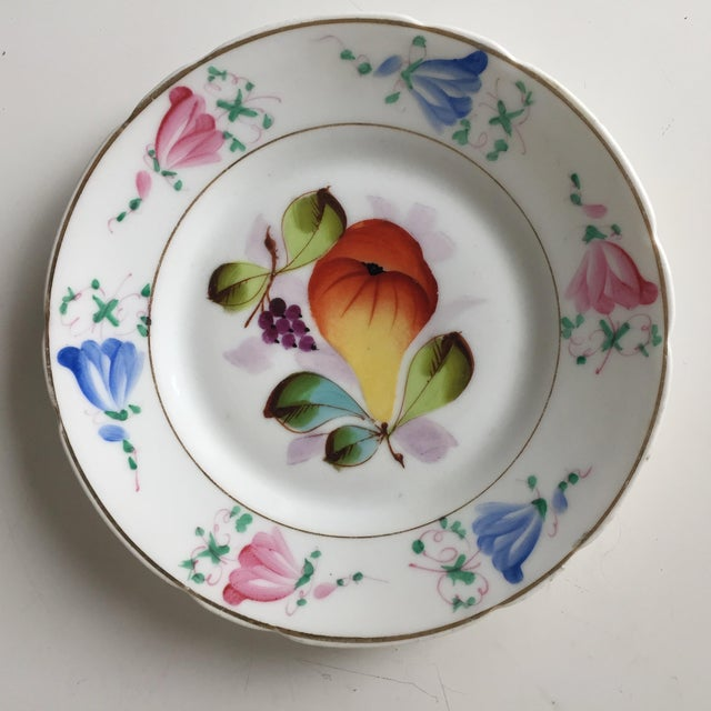 4 Antique French Porcelain Hand-Painted Fruit Plates For Sale - Image 4 of 10