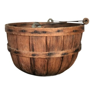 19th Century Primitive Oak Apple Gathering Basket For Sale