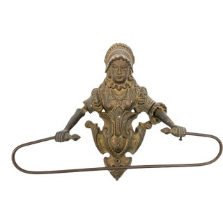 Antique Victorian Patinated Brass Towel Holder For Sale