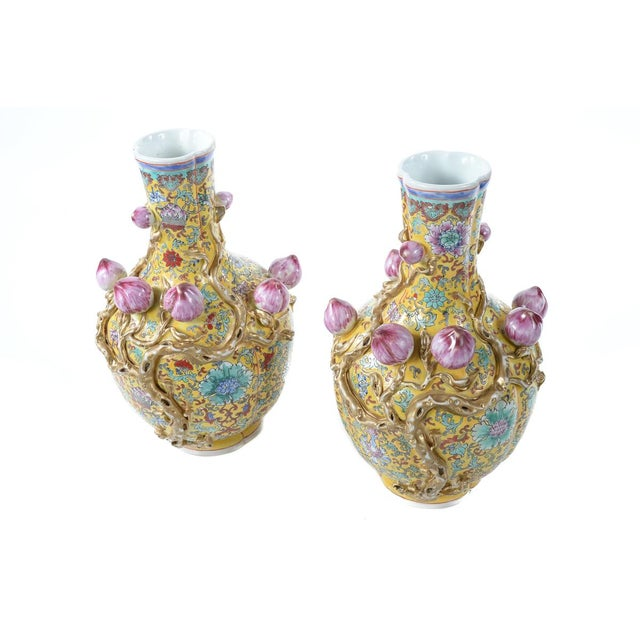 Chinese Famille Yellow & Pink Vases - A Pair - Image 1 of 9