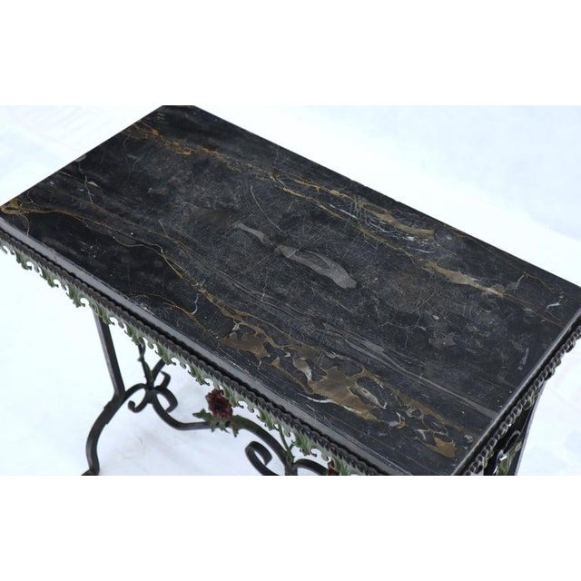 Black Black Marble Top Ornate Wrought Iron Side Console Table For Sale - Image 8 of 13