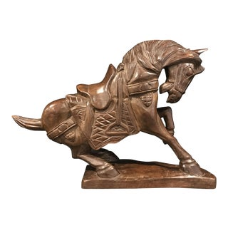 Vintage Carved Wooden Chinese Tang Dynasty Style Horse Statue