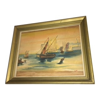 1960s Vintage Walsh Boat in Harbor Watercolor Painting For Sale
