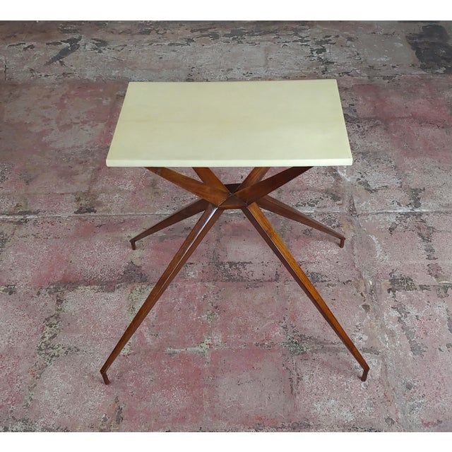 """Mid century modern Geometric Side table with Goatskin Top size 23 x 21 x 25"""" A beautiful piece that will add to your décor!"""