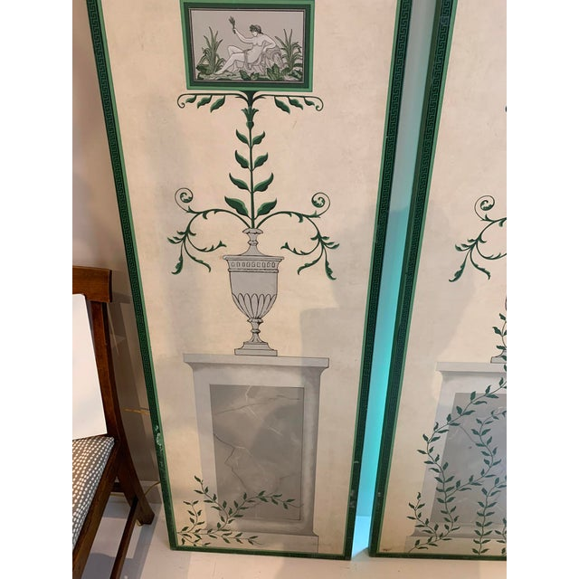 Green Hand-Painted and Decoupaged Garden Screens With Urn Motif - A Pair For Sale - Image 8 of 13