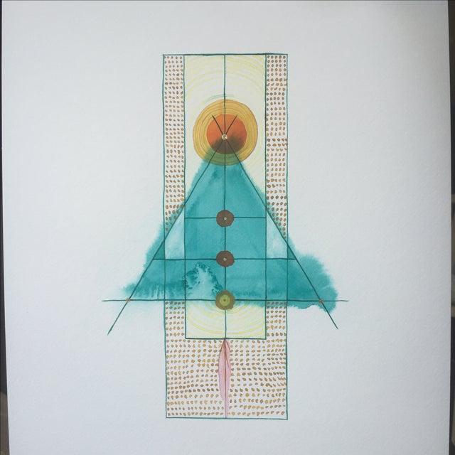 Lori Fox Abstract Watercolor Totem - Image 3 of 9