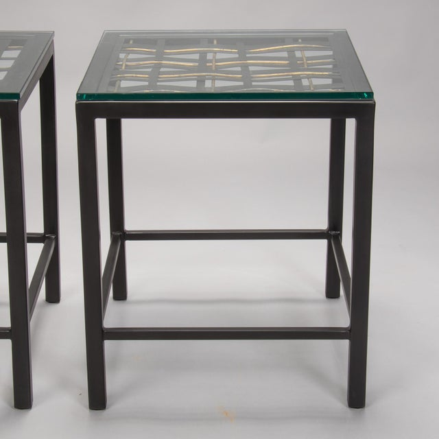 French Pair Custom End Tables Made with French Metal Grill For Sale - Image 3 of 7