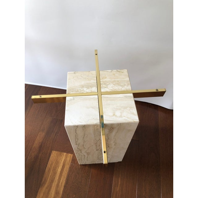 Hollywood Regency 1970s Hollywood Regency Artedi Travertine and Brass End Tables - a Pair For Sale - Image 3 of 8
