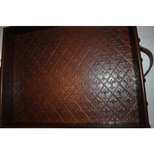 Embossed Leather Tray by Sarreid Ltd. - Image 5 of 6