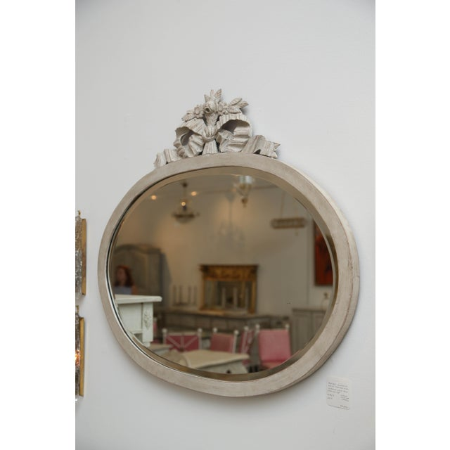 Antique Swedish Gustavian Style Painted Oval Wall Mirror, Late 19th Century For Sale - Image 4 of 6
