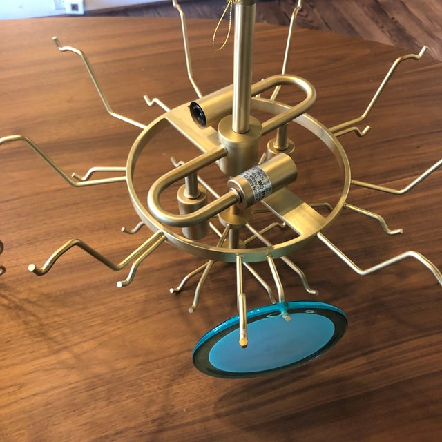 Regina Andrew Design Natural Brass and Aqua Four-Light Chandelier For Sale - Image 12 of 13